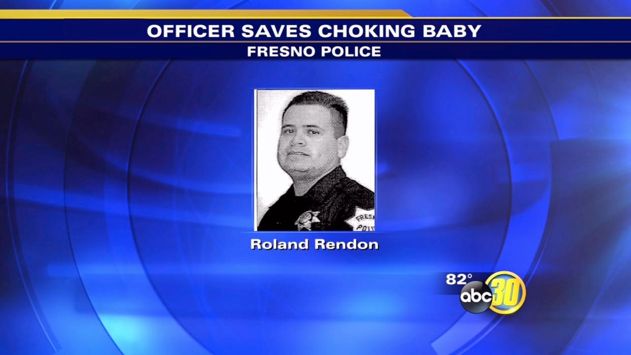 Fresno police officer saves choking babys life