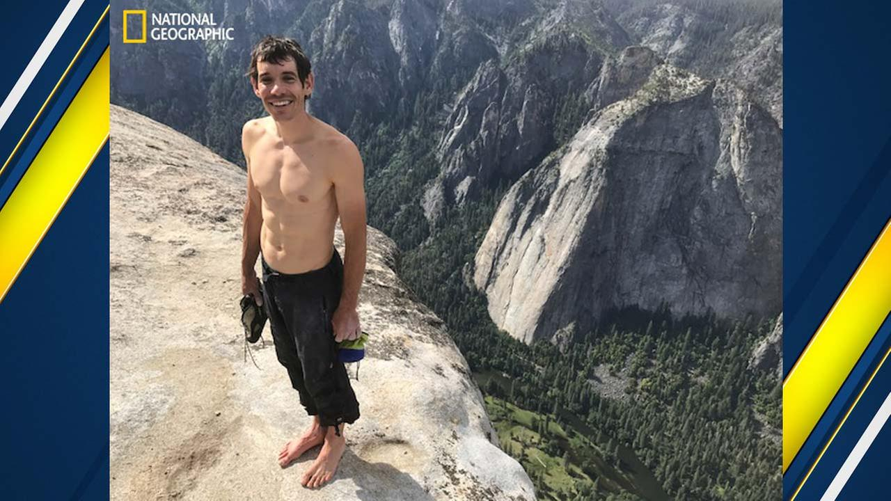 Rock climber Alex Honnold completes a 3,000-foot rope-free climb of El Capitan in Yosemite National Park, June 3, 2017.