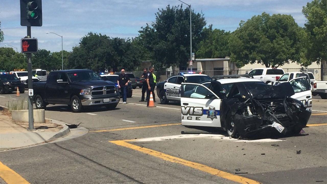 Clovis PD cruiser involved in a crash
