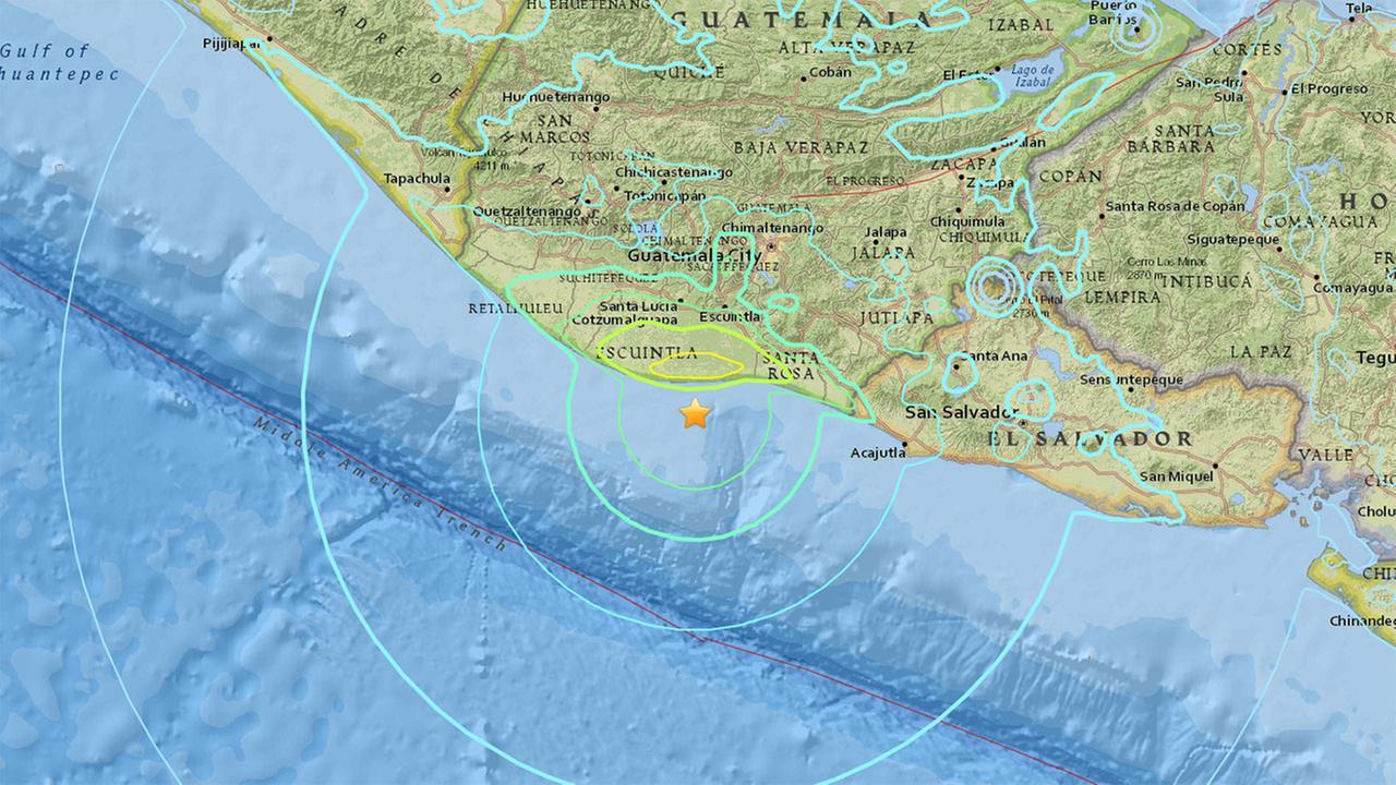 Magnitude 6.8 earthquake recorded off Guatemalan coast