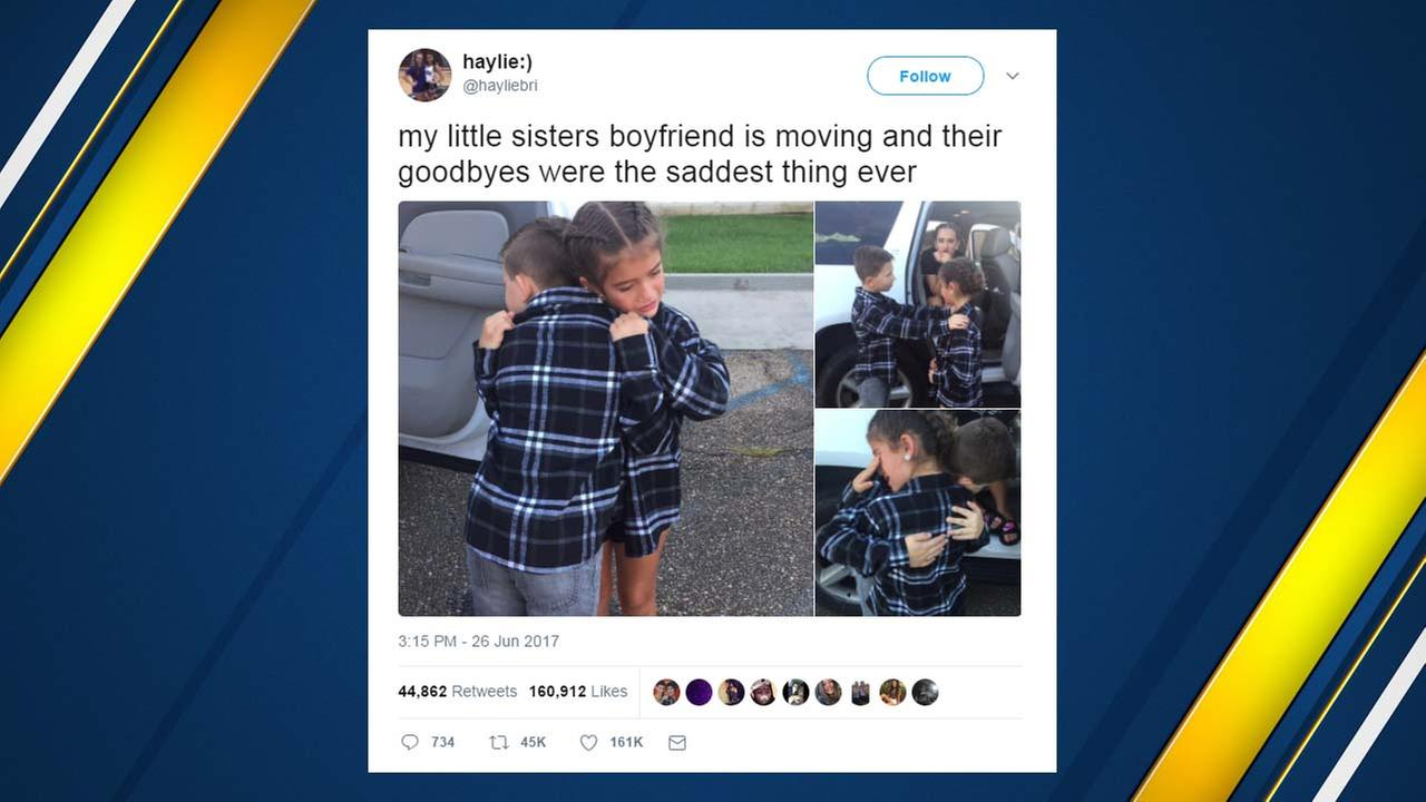 Tweet of 9-year-old couple saying tearful goodbye goes viral