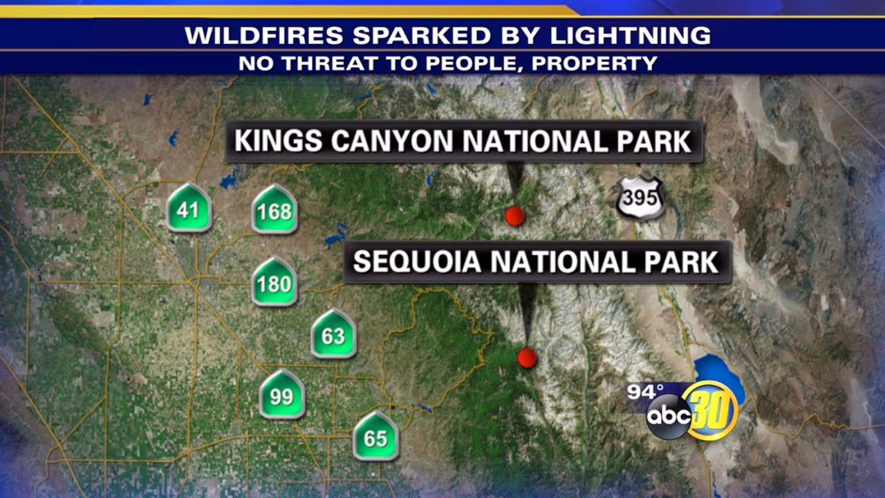 Lightning sparks fires in Sequoia, Kings Canyon National Parks