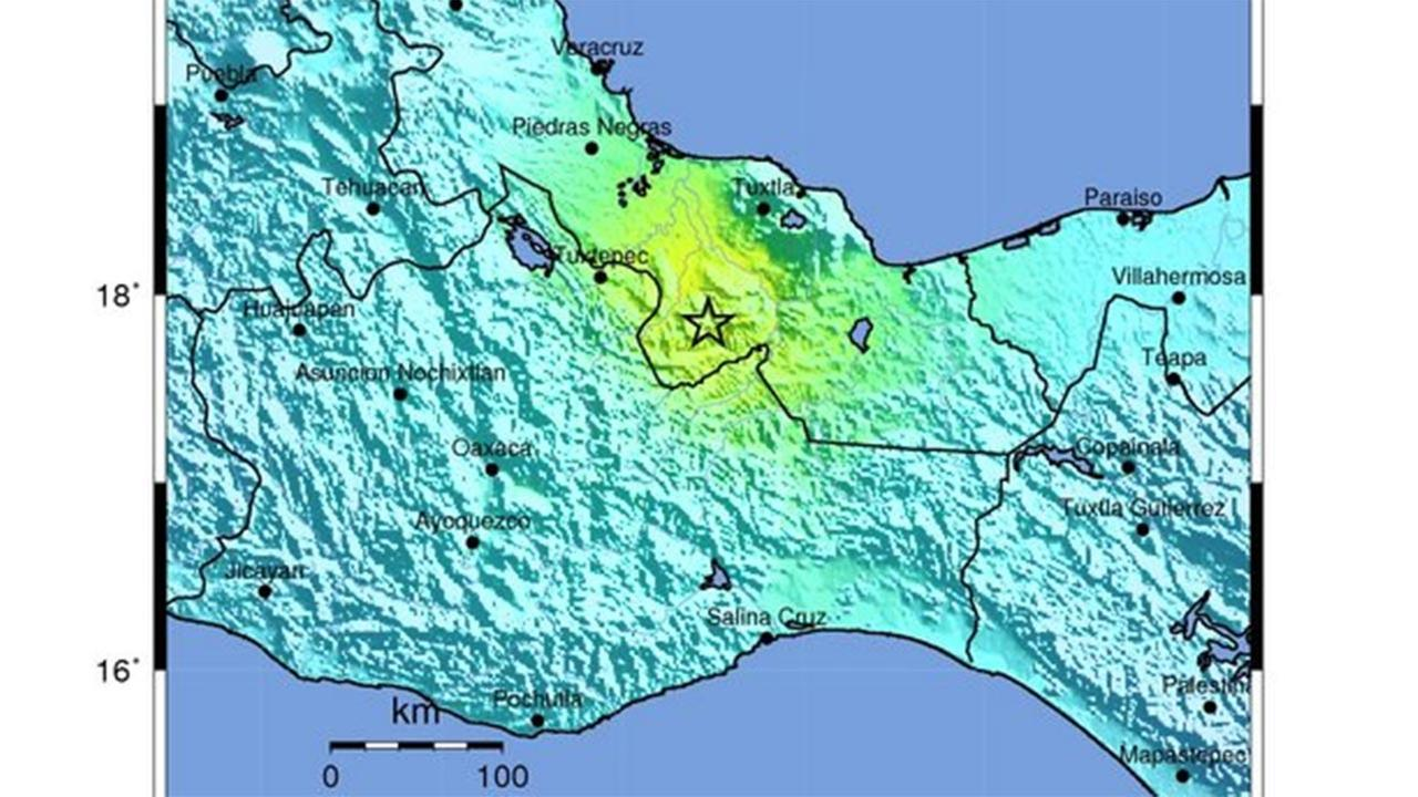 The U.S. Geological Survey said the magnitude-6.3 quake was centered in the Gulf coast state of Veracruz, about 260 miles (418 kilometers) east-southeast of Mexico City.