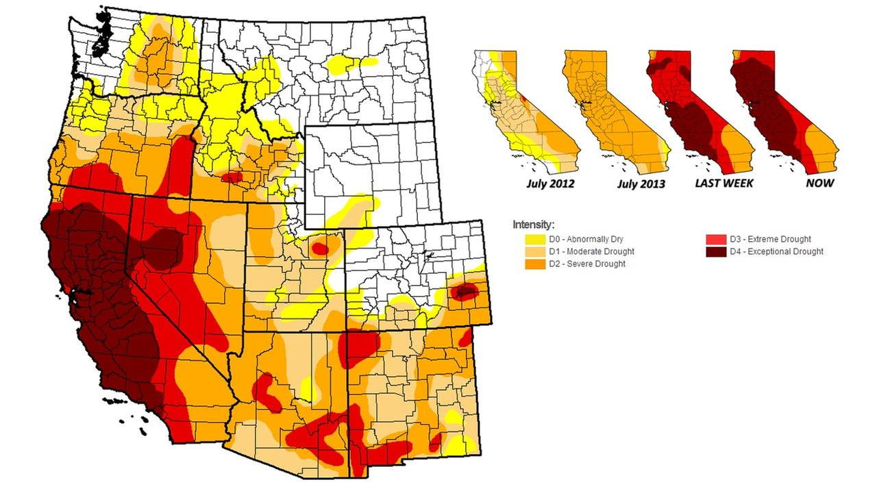 Images from the U.S. Drought Monitor weekly report released Thursday, July 31, 2014