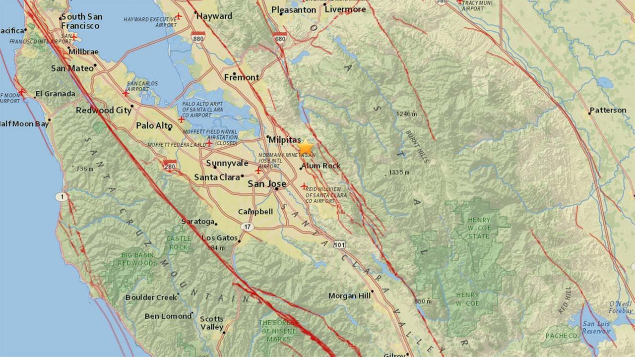 3.3 preliminary magnitude earthquake strikes near San Jose
