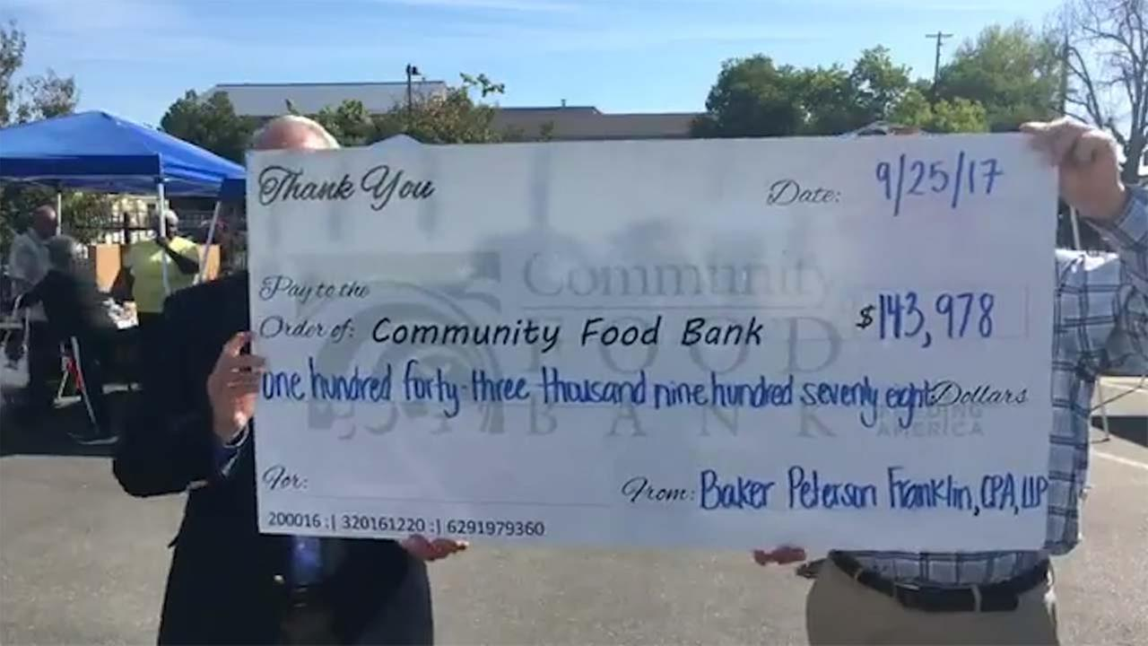 The Community Food Bank got a large donation of over $140,000 from Baker Peterson Franklin-- which is an accounting and consultant firm.