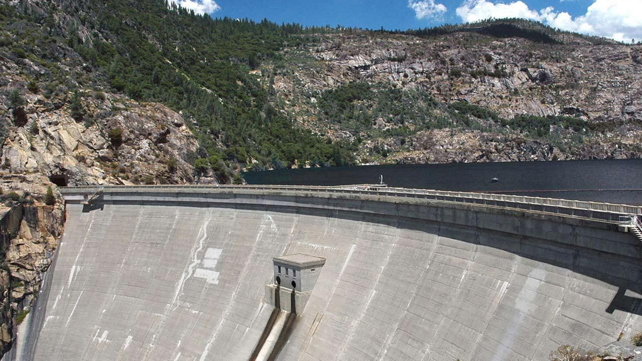 ** FILE ** This image provided by Environmental Defense shows the OShaughnessy Dam on the Hetch Hetchy reservoir in Yosemite National Park, Calif.
