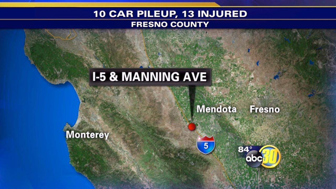 13 people treated after 10 cars crash on I-5 near Mendota