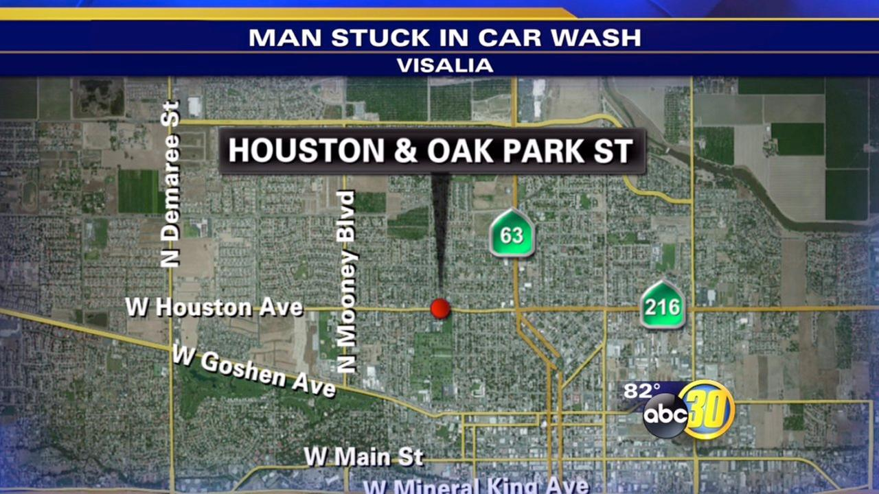 Man rescued from under vehicle at Visalia car wash