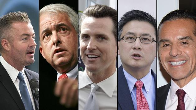 Left to right: Travis Allen, John Cox, Gavin Newsom, John Chang, Antonio Villaraigosa