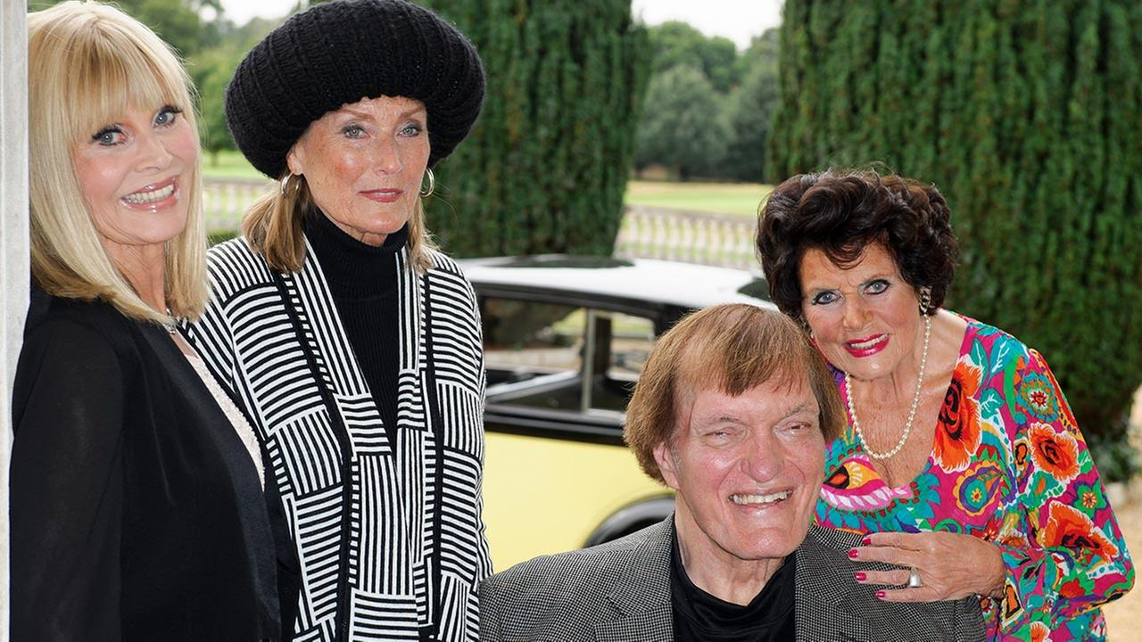 FILE - In this Sept. 21, 2012 file photo, actors, from left, Britt Ekland, Tania Mallet, Richard Kiel and Eunice Gayson pose at a photocall for the Bond 50 anniversary, in London.