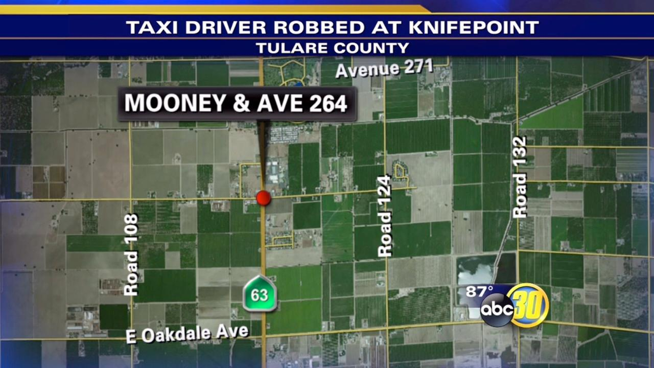 Suspect jailed after taxi driver robbed at knifepoint in Tulare County