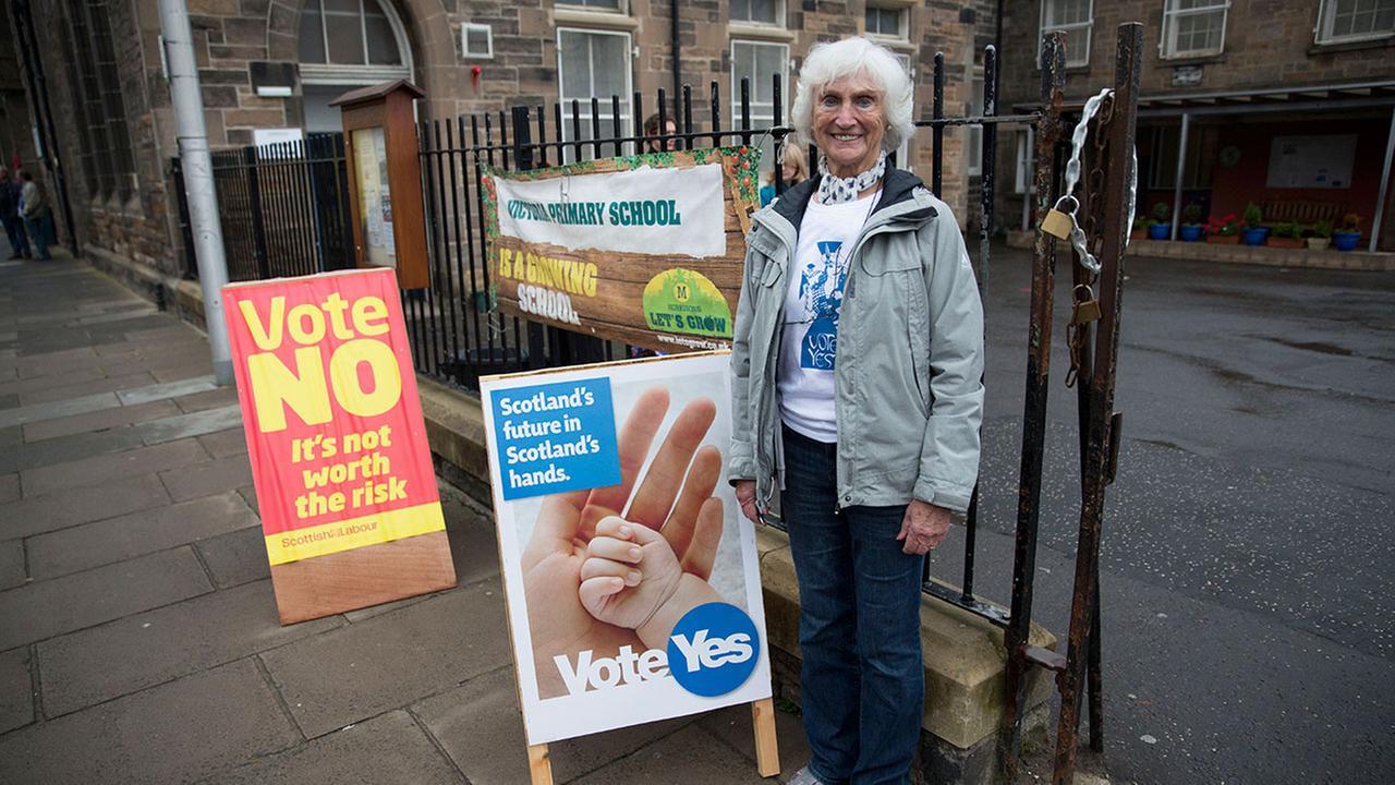 83-year-old Edinburgh resident Isabelle Smith outside a polling place in Edinburgh, Scotland, Thursday, Sept. 18, 2014