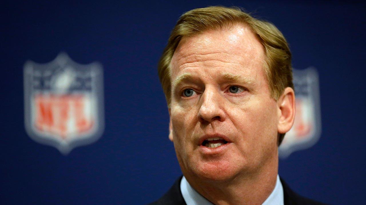 FILE - NFL Commissioner Roger Goodell speaks at a press conference