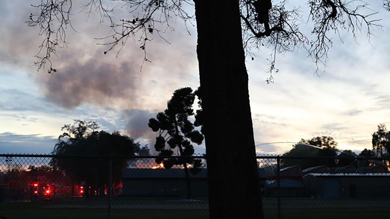 Fire on the campus of Mt. Whitney High School in Visalia.
