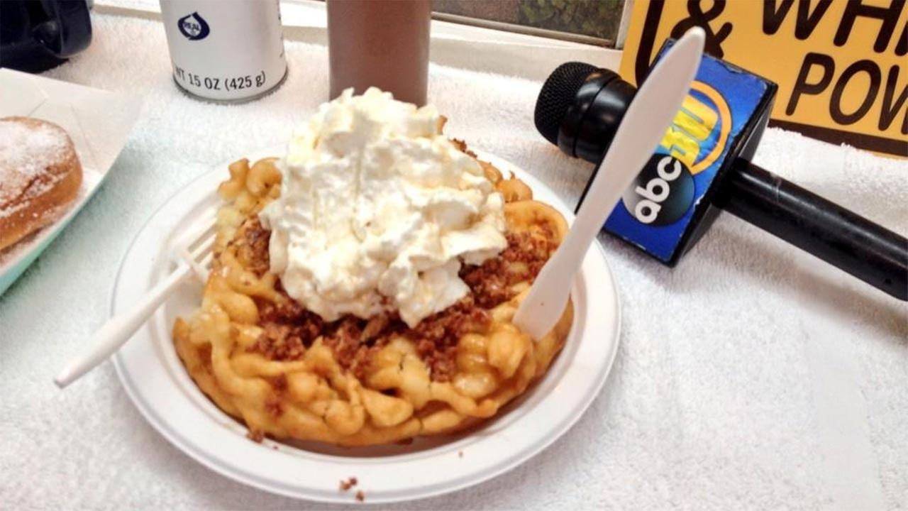 A funnel cake at the Big Fresno Fair