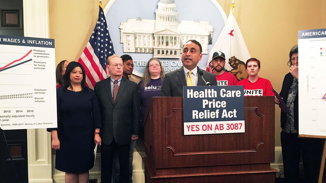 Assemblyman Ash Kalra, D-San Jose, discusses his proposal to create price controls for hospital stays, doctor visits, and other health care services at the state Capitol.