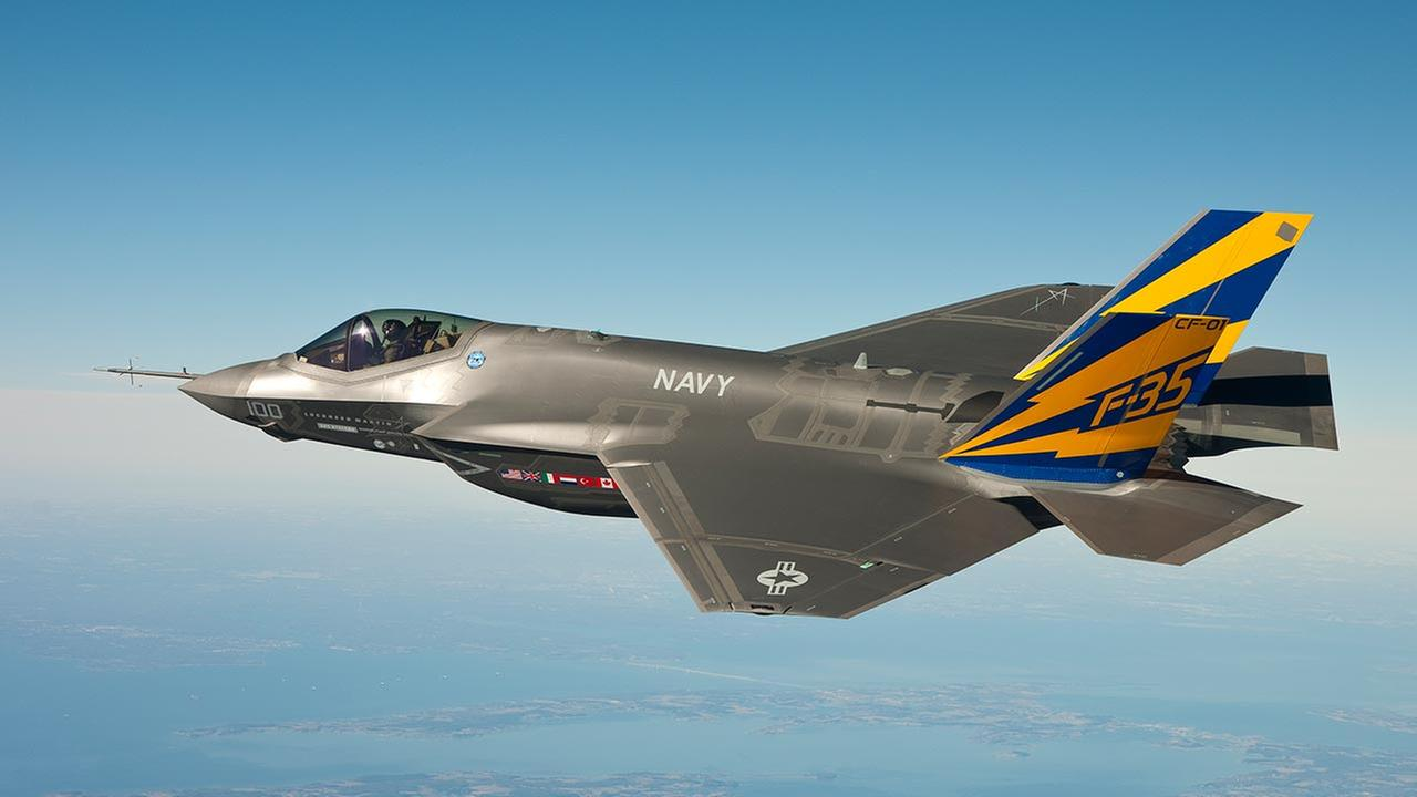 FILE: In this Feb. 11, 2011 file photo released by the U.S. Navy, a variant of the F-35 Joint Strike Fighter, the F-35C, conducts a test flight over the Chesapeake Bay.