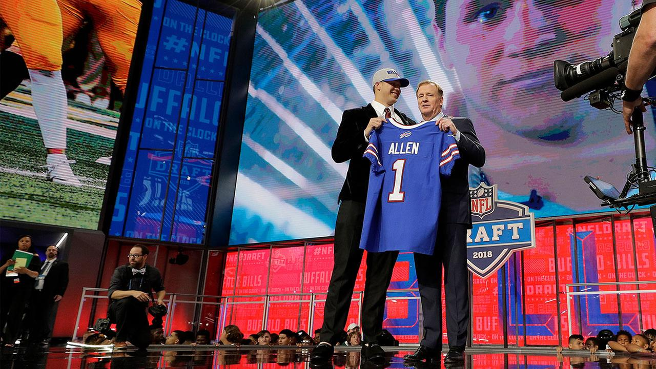 Firebaughs Josh Allen is presented with his Buffalo Bills jersey by Commissioner Roger Goodell during the first round of the NFL football draft, in Arlington, Texas.