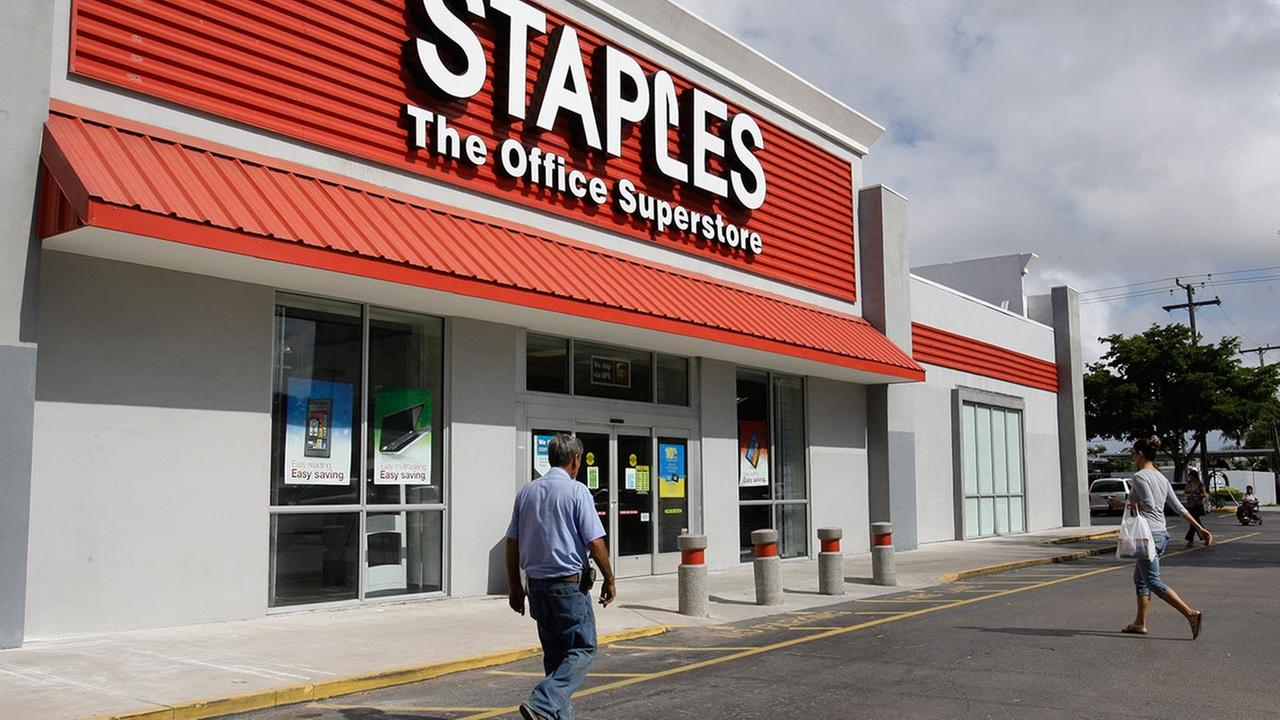 FILE: Staples said it is looking into a potential credit card data breach and has been in touch with law enforcement officials about the issue.