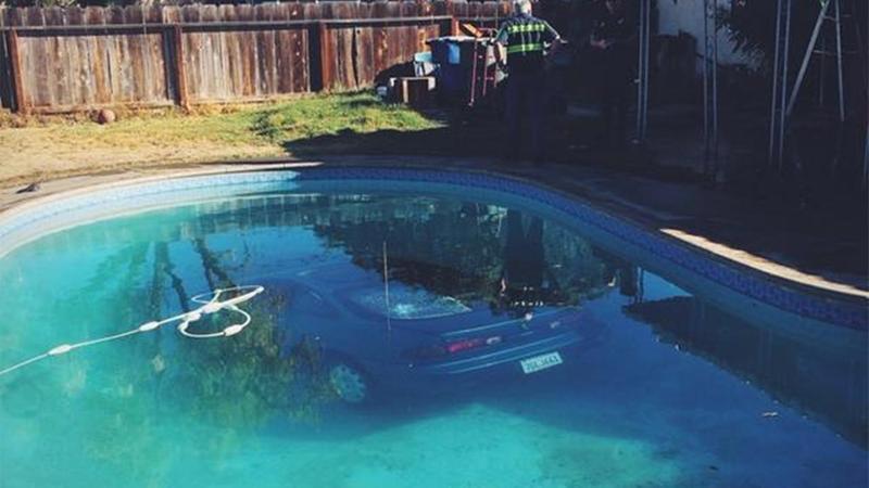 Fresno driver has pool mishap…