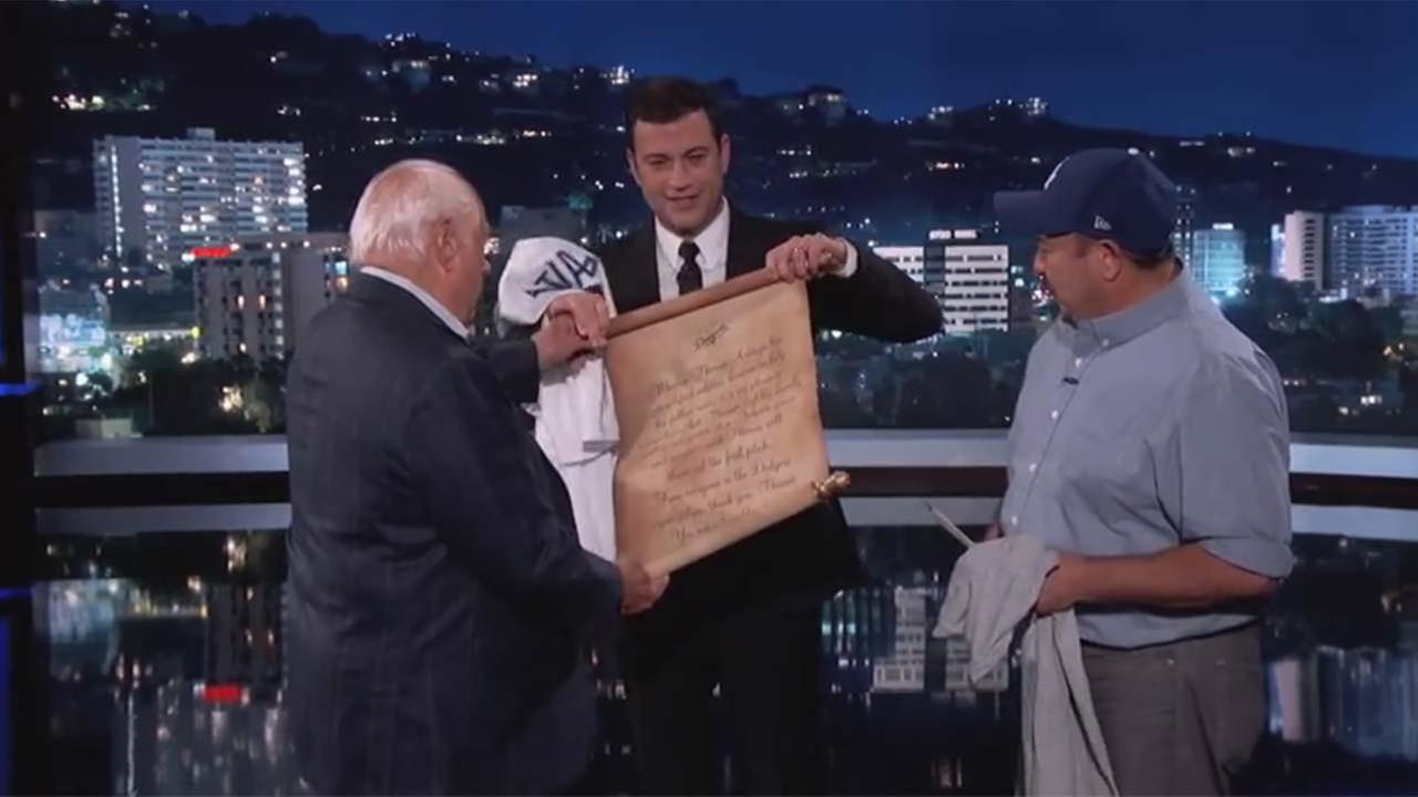 Tommy Lasorda, Jimmy Kimmel, and Thomas Artiaga (YouTube)