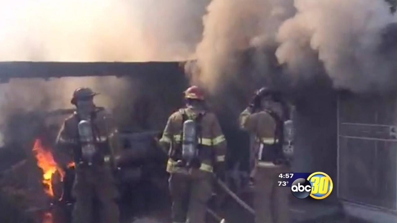 Fire guts Central Fresno home