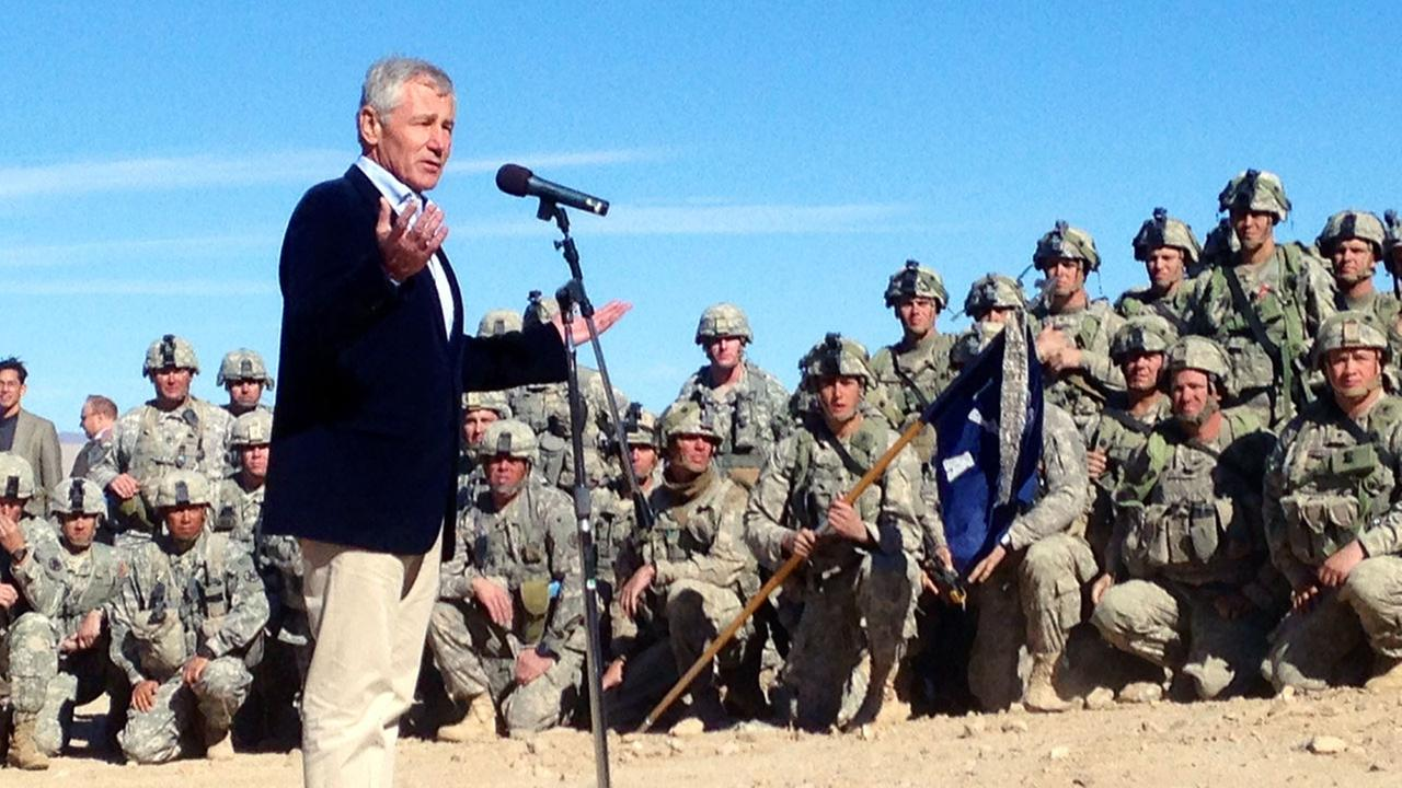 U.S. Secretary of Defense Chuck Hagel speaks to members of 3rd Brigade, 4th Infantry Division, at the National Training Center in Fort Irwin, Calif. on Sunday, Nov. 16, 2014.