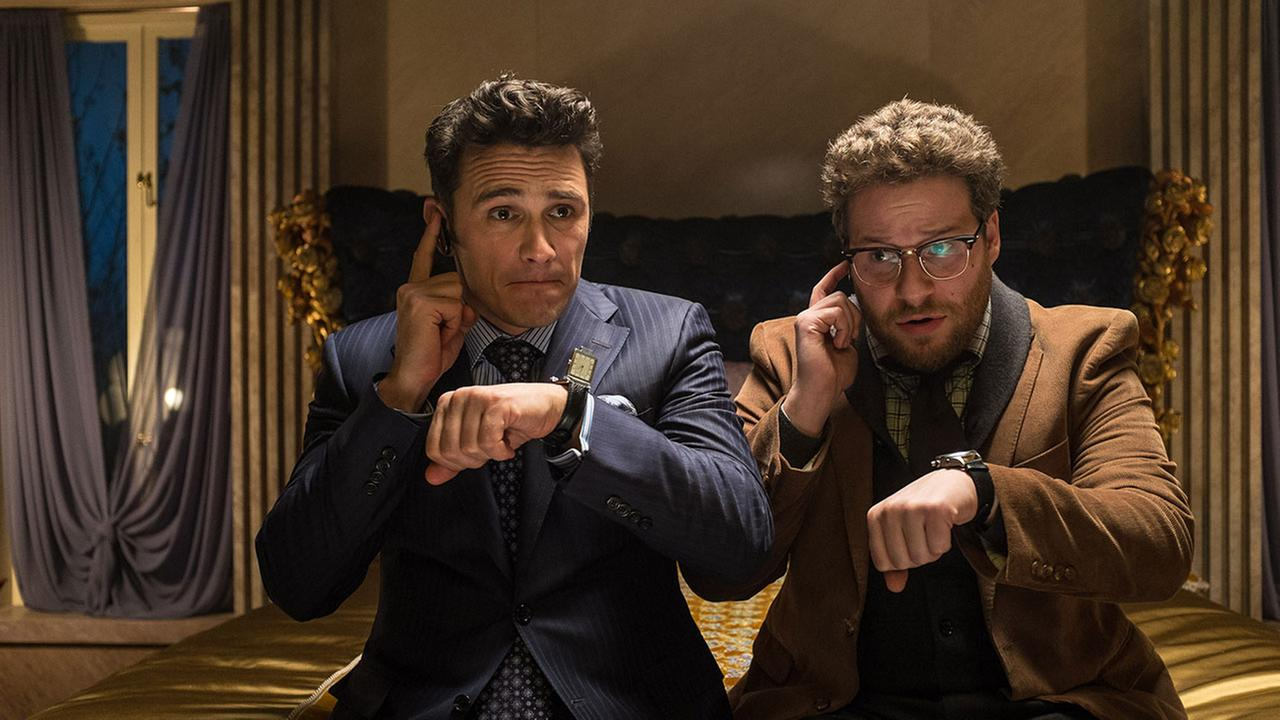 This image released by Columbia Pictures - Sony shows James Franco, left, and Seth Rogen in a scene from the The Interview.