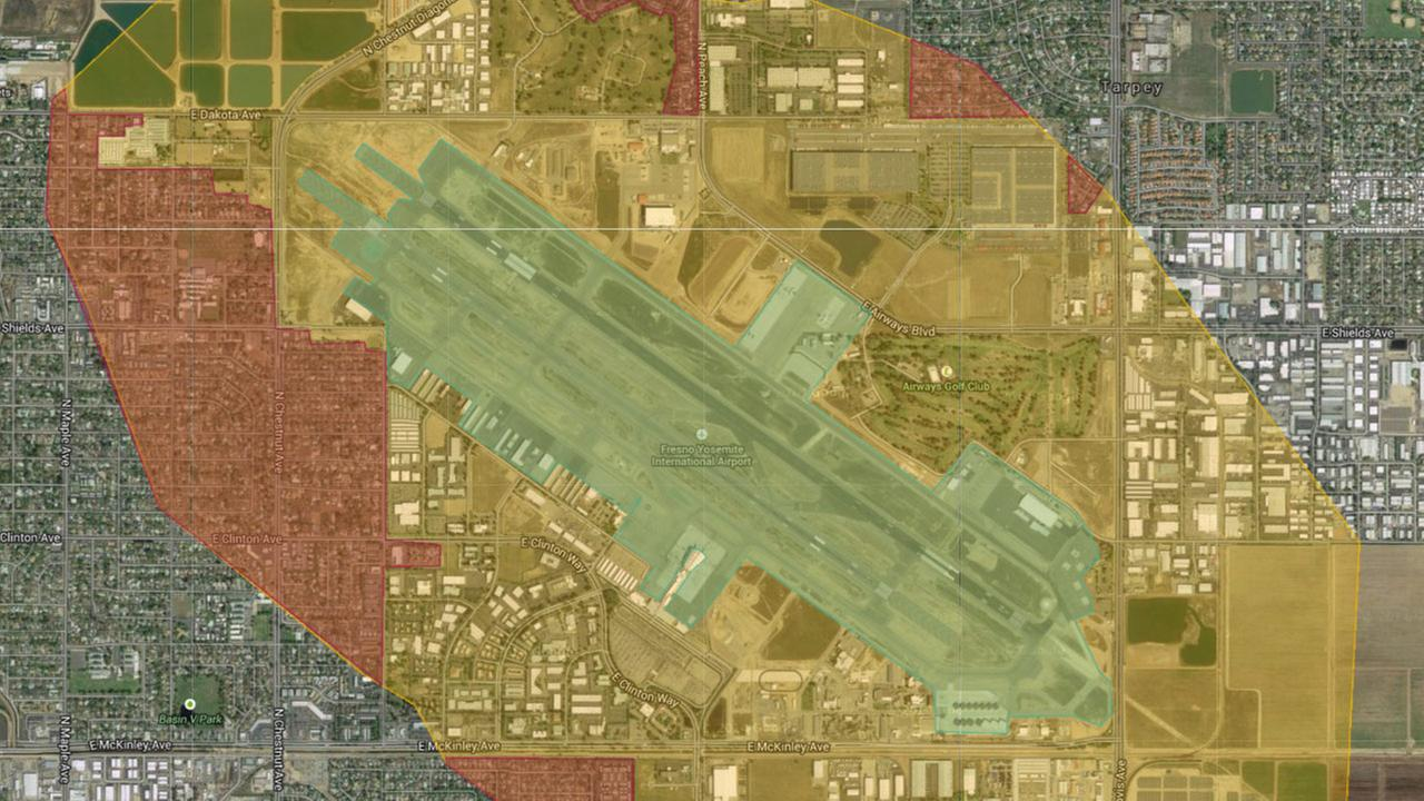 Map shows lead pollution around California airports