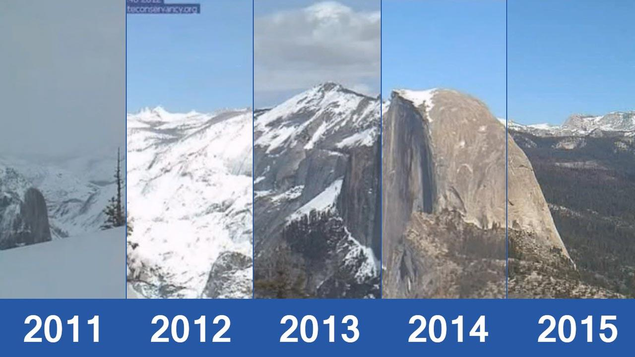 California Drought images of Half Dome and the high Sierra Nevada mountains over the last five years