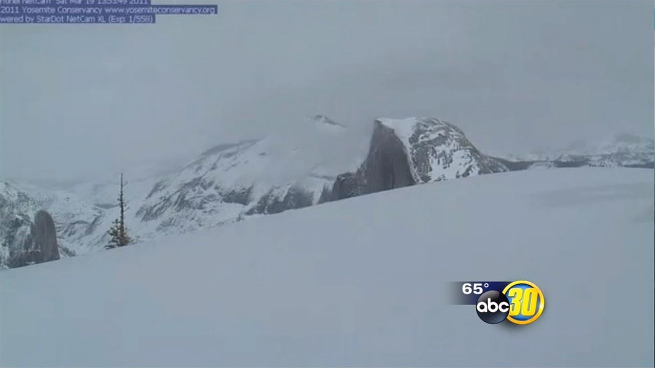 California Drought images of the snowpack at Half Dome and the high Sierra Nevada mountains over the last five yearsYosemite Conservancy