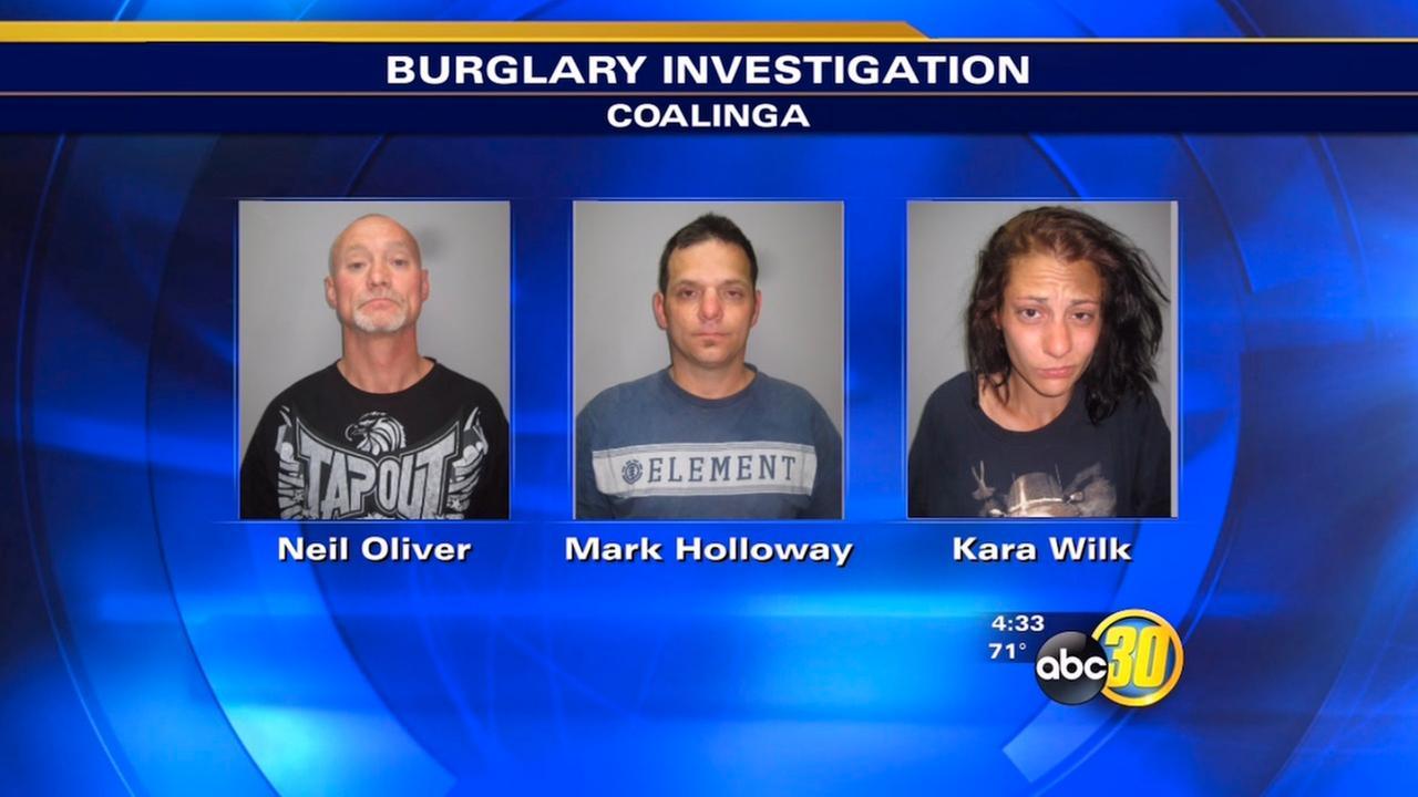 3 nabbed for attempted burglary in Coalinga