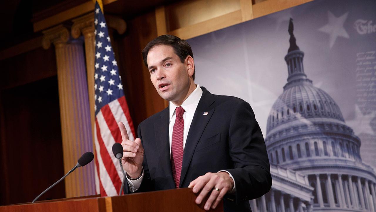 Sen. Marco Rubio, R-Fla. speaks on Capitol Hill in Washington.