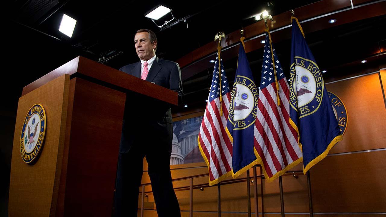 House Speaker John Boehner of Ohio speaks during a news conference on Capitol Hill in Washington, Thursday, June 25, 2015.
