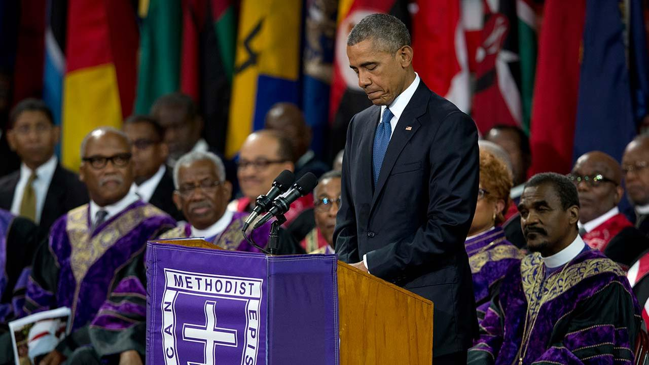 President Barack Obama pauses as he speaks during services honoring the life of Reverend Clementa Pinckney