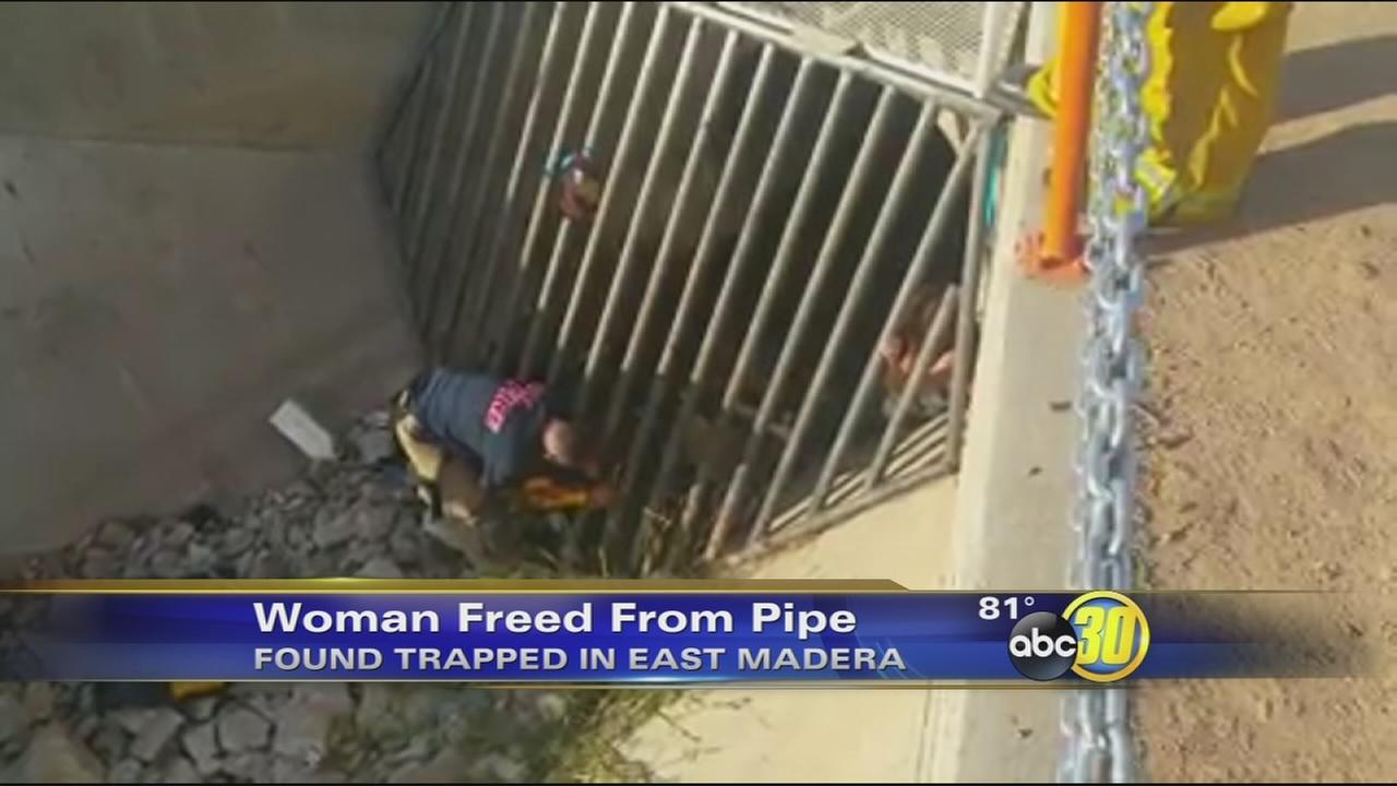 Madera woman gets stuck in drainage pipe near Martin Luther King School