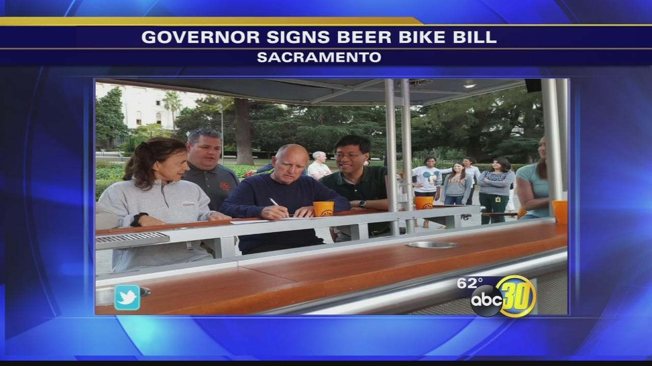 Governor Jerry Brown signs bill allowing beer bikes