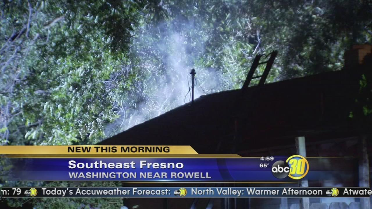 Crews battle house fire, gas leak, downed power lines in Southeast Fresno
