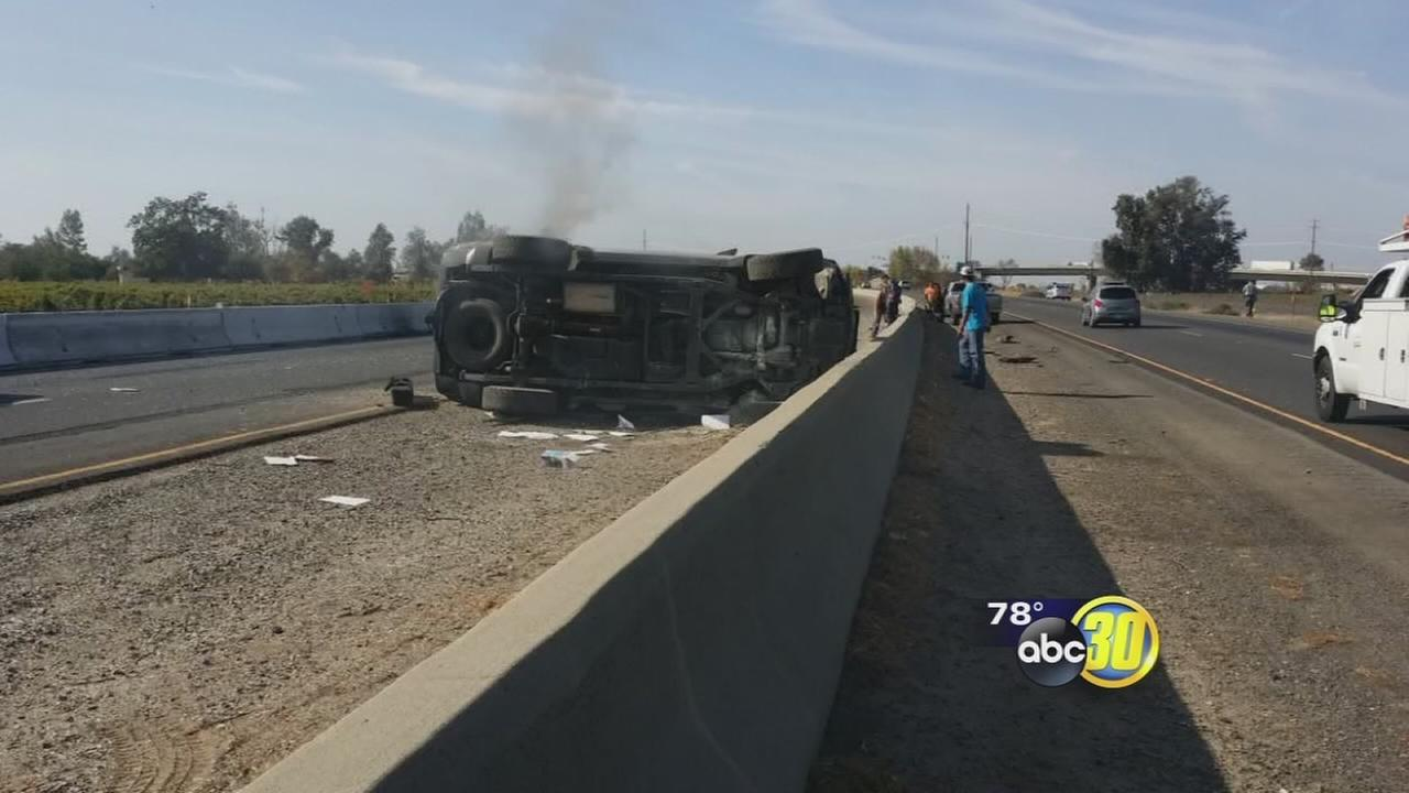 Madera man saves family from flipped SUV seconds before car goes up in flames
