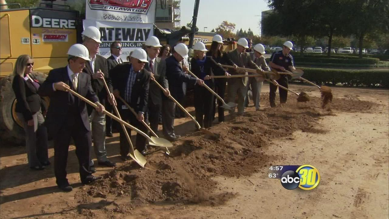 Developers and city officials broke ground on the future site of Dave and Busters
