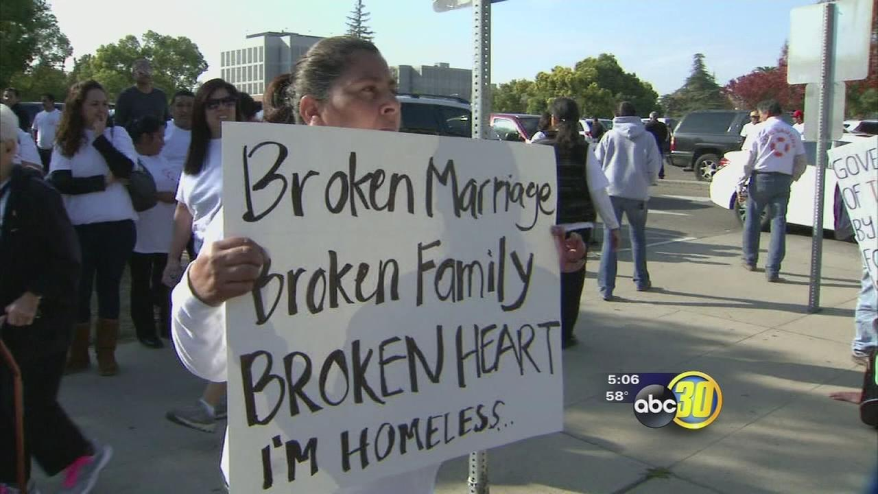 Protest over home foreclosures crowded the streets of downtown Fresno
