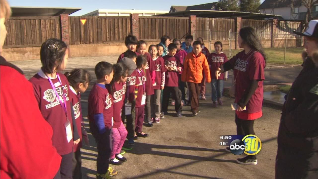 Students from China are in the Central Valley learning from a local school about American culture