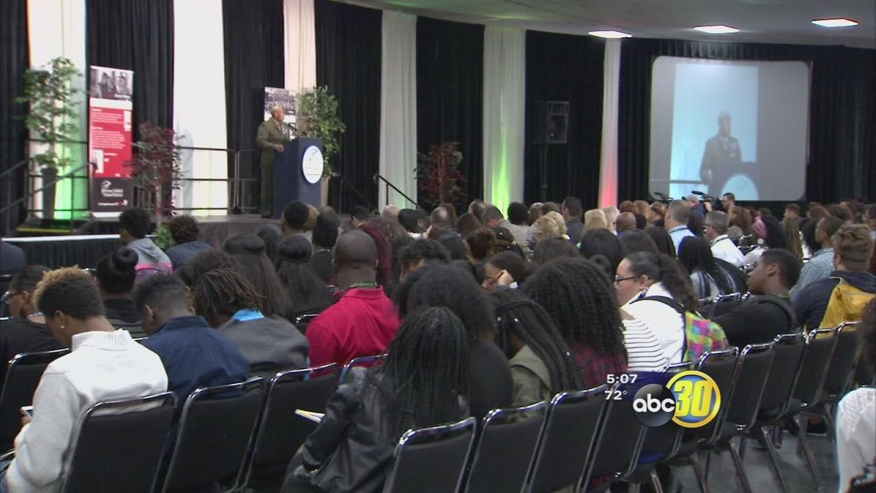 Students gather in downtown Fresno for the African American Student Leadership Conference
