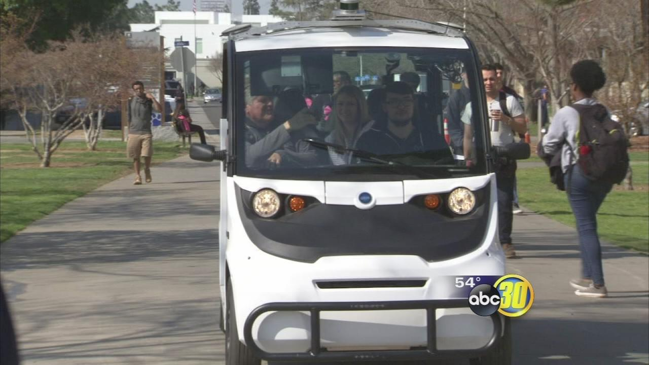 Fresno State students and staffed showed off self-driving shuttle