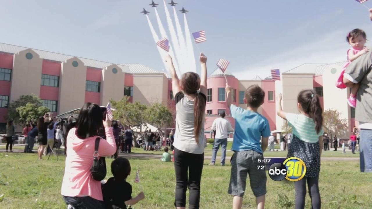 Blue Angels flew over Valley Childrens giving patients a special treat