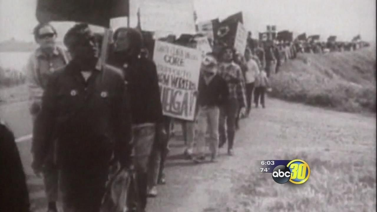 Ceremony marked 50 years since Cesar Chavez and farm workers marched from Delano to Sacramento