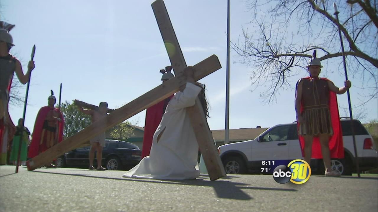 One Valley church is tells the Easter story using large procession