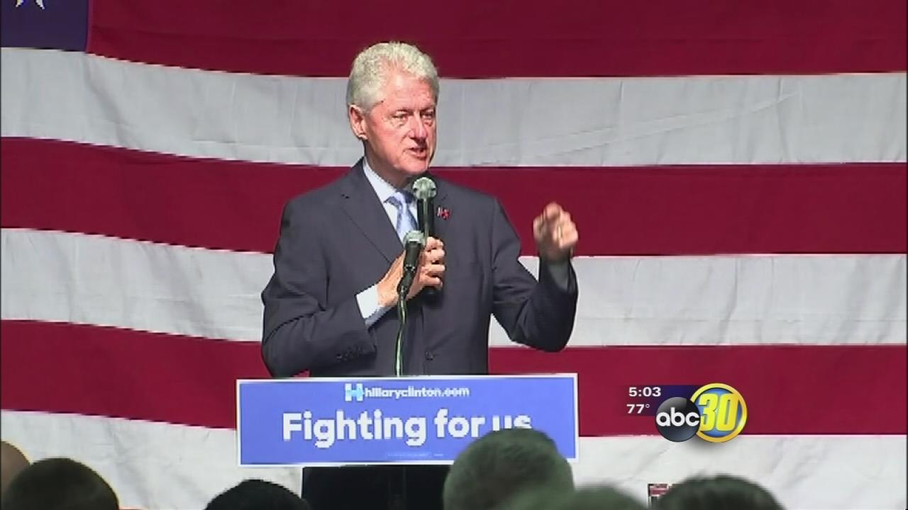 Former president Bill Clinton campaigns for Hillary at Fresno State