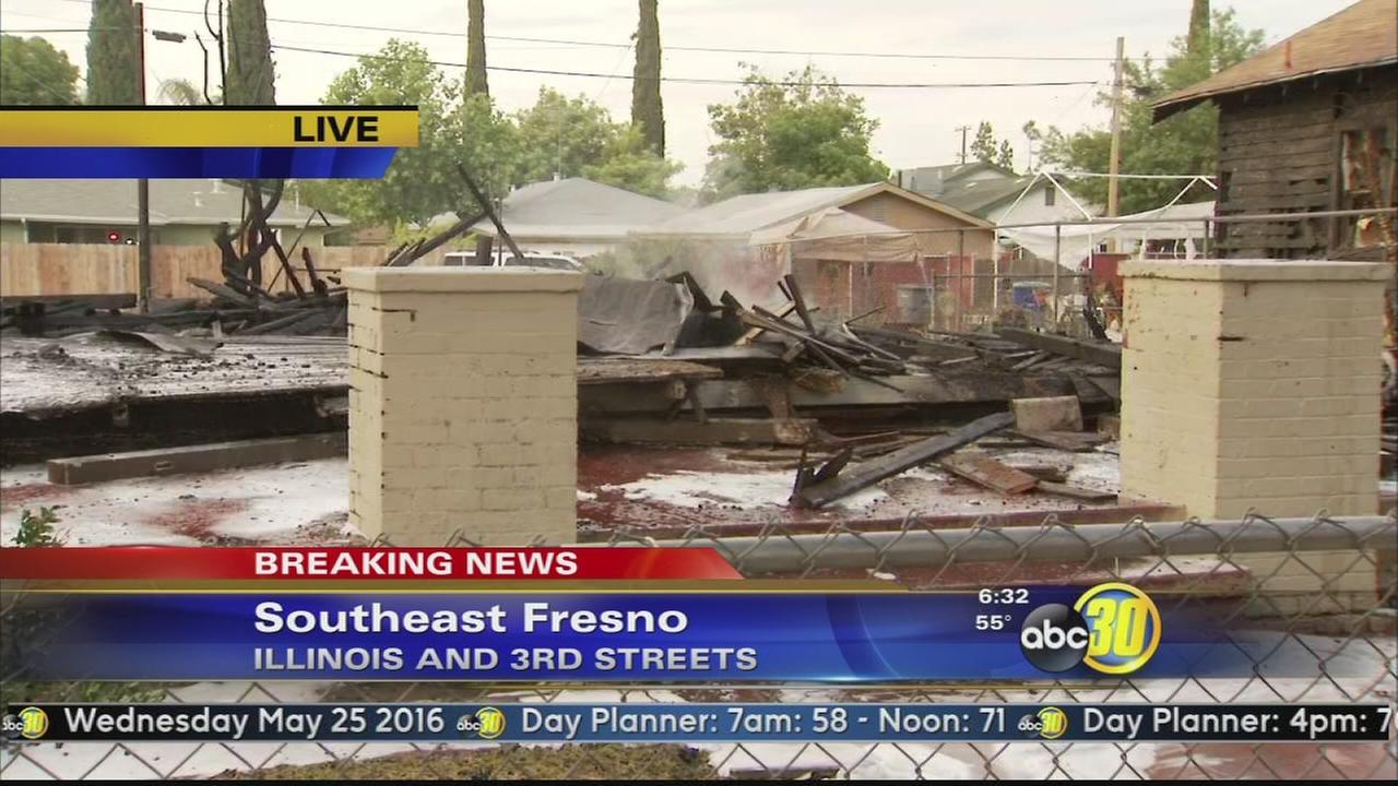 Fresno home destroyed, 2 others damaged in fire